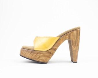 90s Vintage Platform Wood Heels | Retro Leather Platform Sandal | 90s does 70s | Womens Size US 7 UK 5 Euro 37 - 38