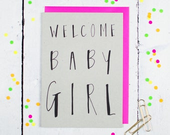 Welcome Baby Girl Greetings Card