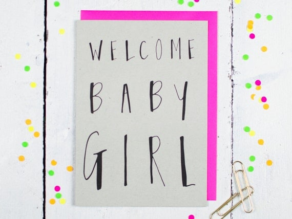 Welcome Baby Girl Greetings Card by LouiseandLygo on Etsy