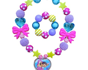 Dora Necklace, Dora the Explorer Necklace, Dora Butterfly, Bubblegum Necklace, Chunky Necklace, Chunky Dora Explorer Necklace, Bracelet Set