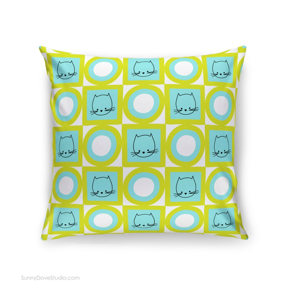 Fun Throw Pillows For Couch : Cute Pillow Cover Fun Cat Home Decor Throw Pillows Accent