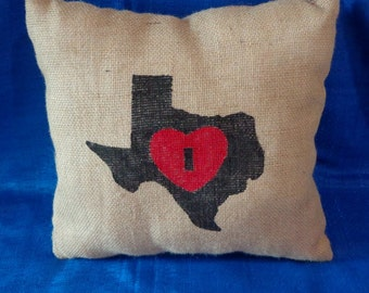 Burlap Stenciled Pillow,Heart of Texas Pillow,Burlap Pillow,Throw Pillow,Decorator Pillow,I love Texas Pillow,Accent Pillow,Handpainted