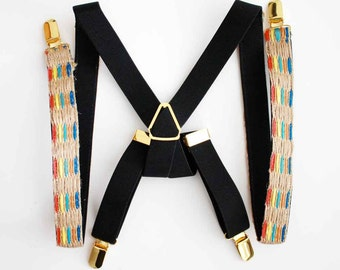 Jute Trim Suspenders - Women Suspenders - Gold Hardware - Fashion Suspenders for Women - Women's Suspenders - Fashion Accessories