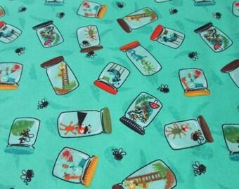 Flannel Fabric - Lightning Bugs - 1 yard - 100 Percent Cotton Flannel