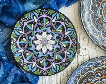 SALE -15% Hand painted mandala plate - Decorative plate - Wall hangings - Point-to-point