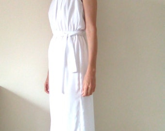 Belle Epoch Dress, Maxi Evening Dress, Prom Dress, White Satin Chiffon, Special Occasion, Halter neck, Loose fitting Dress, made to order.