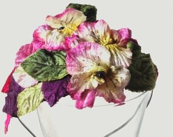 Velvet Flowers Diadem, Floral Diadem, Wedding Diadem, Party Diadem, Floral Headpiece, Flowers Headpiece, Flowers Headband