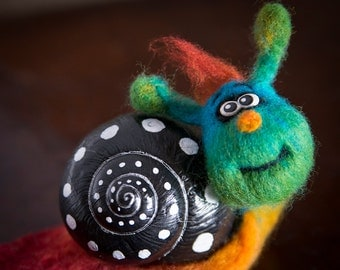 Funny Needle Felted Fiber Art Animal ~ Silly Rainbow Snail