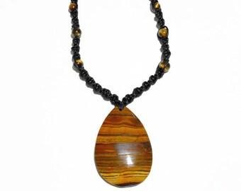 Tiger eye necklace, tiger iron pendant, macrame stone necklace, solar plexus chakra, surfer style, metaphysical jewelry, hippie necklace