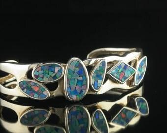"Whitney Kelly Sterling Silver Opal Inlay Cuff Bracelet 6"""