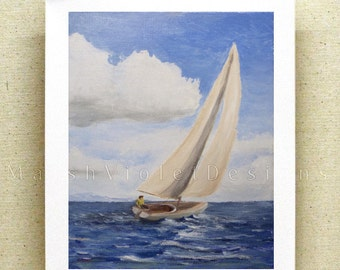 Sailboat Print, Sailboat Art, Sailing Art, Nautical Print, Nautical Decor, Ship Print, 8x10 11x14 16x20 inch, large print, small print