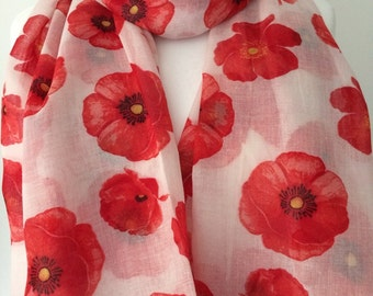 White Scarf Red Poppy Print, Poppies Floral Wrap, Ladies Flowers Pattern Shawl