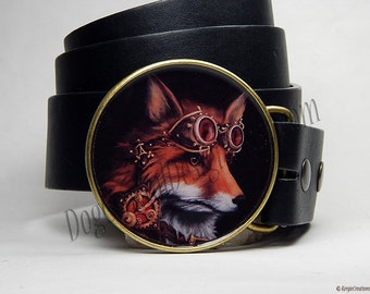 Belt Buckle Steampunk Fox Belt Buckle Animal Red Fox Mens Belt Buckles Womens Belts Womens Gift Mens Gift