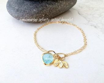 Aquamarine Initial Bracelet Personalized Infinity Bracelet hand stamped letters monogram jewelry Infinity Jewelry Aquamarine Jewelry letters