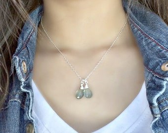 Moss Aquamarine Necklace Aquamarine Necklace Aquamarine Jewelry monogram Initial Necklace Personalized March Birthstone duo gemstones