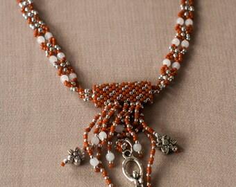 Goddess of Fertility Charm- Prosperity Magic- Unique Gift- White Quartz Natural Gemstone Sterling Silver Beadwoven Handmade Necklace