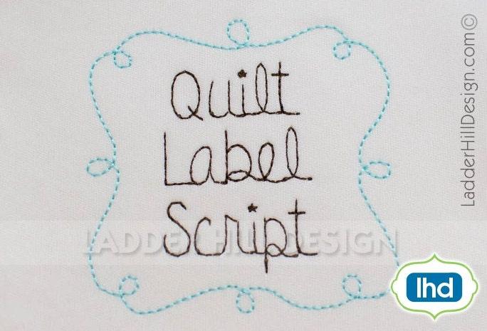 Quilt label script font embroidery