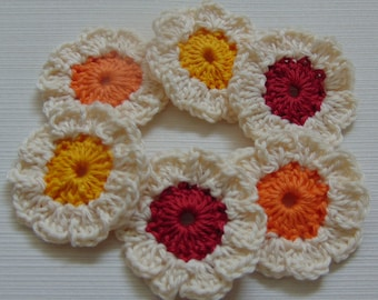 Set of 6 handmade crochet flowers