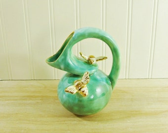 Vintage Turquoise Decorative Pitcher With Bees Turquoise Pitcher Bee Pitcher Milk Pitcher Turquoise Creamer Bee Creamer Bee Collectible