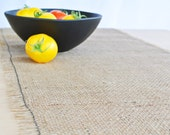 Rustic Burlap Table Runner with Frayed Edge and Black Detail