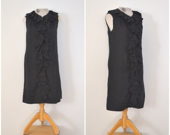 1960s black ruffled evening dress // vintage mod classic shift // medium