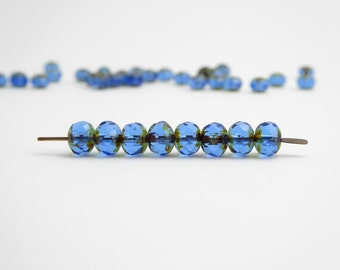 60 x 5x7mm Blue Picasso Gemstone Donut Czech Glass Beads, Blue Puffy Rondelle Beads, Picasso Glass Beads GMD0150