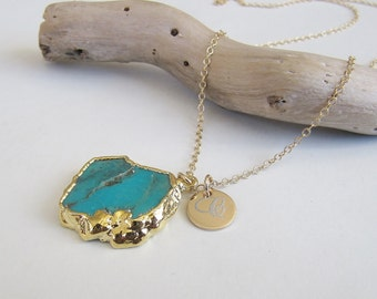 Turquoise Slice Necklace, December Birthstone, Gold Turquoise Necklace, Turquoise Jewelry, Everyday Necklace, Gold Filled Necklace, Simple