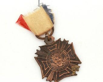 Miniature Medal Veterans of Foreign Wars, VFW Medal, Patriotic USA Medal, Vintage War Medal, US Military Veteran, Military Medal Mini Size