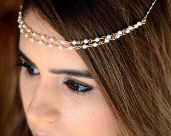 THE YOLIE - White Gold Pearl clip, hair stick, women, hair accessories, hair pin, hair brooch, hair jewelry, hair clips, barrette, gift