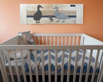 Duck nursery wall art- Navy Stripe - Baby room farm decor - Family of 3 - Metal - Reclaimed wood - Made in Austin, TX, USA