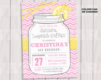 Pink Lemonade Invitation Printable, Lemonade Stand Birthday Party Invite, Chevrons, Mason Jar, Bunting, Printable
