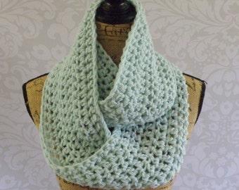 Infinity Scarf Crochet Knit Glacier Ice Blue Women's Accessories Eternity Fall Winter