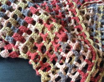 Earth shades crochet shawl