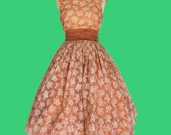 Annika dress - 1950s formal dress with chiffon train - size xsmall - small