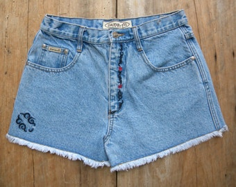 Size 28 Vintage Embroidered High Waist Denim Shorts by Zana*di / Vintage Denim Shorts with Raw hem and Embroidery Trim / 28 inch Waist