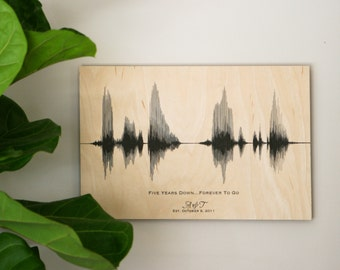 5th Anniversary Gift, Wood Anniversary for Her, for Him, for Men, Custom Sound Wave Art, 5 Year Anniversary, Voice Print, 5th Wedding