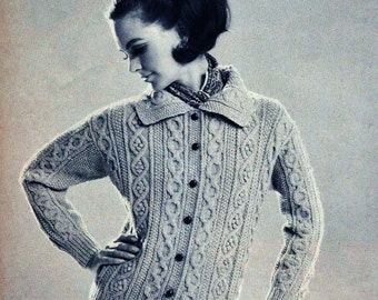 Cable Cardigan Vintage Knitting Pattern Download