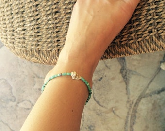 Beachy Summer Surf Shell Turquoise Sea Green Beaded Adjustable Anklet