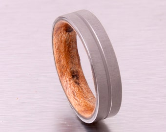 Mens Wood Wedding Band with Titanium Ring // wood wedding ring // engagement band // maple ring