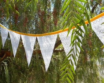 Lace Garland - Fabric - Customize Color - Lace Wedding Banner - Wedding Bunting - Rustic Wedding - Lace Bunting Banner - Party Decoration