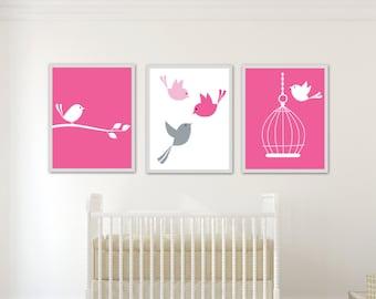 Nursery Bird Art Print, Baby Girl Wall Art Prints Pink Birds and Cage Set, Girls Bedroom Decor - H176 -Custom Colour