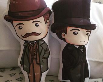 """Sherlock Holmes & John Watson Victorian Figure Fan pillow 14"""""""