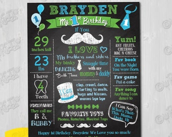Printable Little Man Birthday Chalkboard Poster-16x20 with FREE 8x10 Poster. (Mustache Birthday Party, DIY First Birthday Chalkboard Poster)