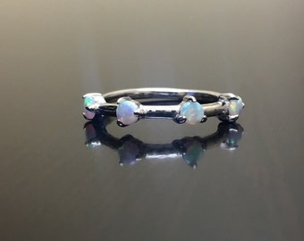 14K White Gold Opal Engagement Band - 14K Gold Opal Wedding Band - 14K Opal Band - White Gold Opal Band - Gold Opal Ring