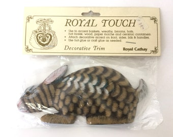 Bunny Rabbit Easter Wood Rabbit Decorative Trim / Accent for Craft Projects, Vintage 1980s Royal Touch Royal Cathay in Original Packaging