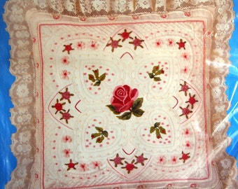 Victorian Rose Pillow By Candamar Designs Vintage Embroidery And Ribbon Pillow Kit Undated