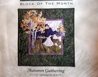 Autumn Gathering Block Two At Home In The Woods By McKenna Ryan And Pine Needles Uncut Quilt Block Pattern 2000