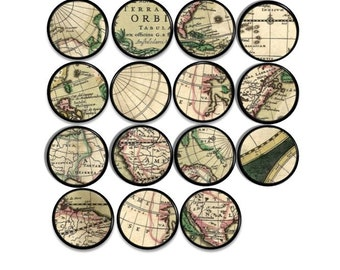 Vintage Maps   Drawer Pull   Old World, Green, Tan, Globe, Office