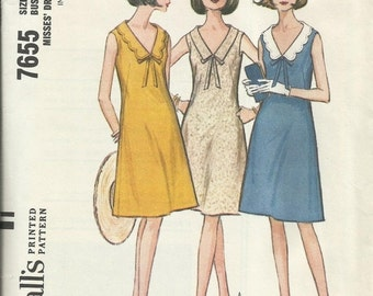 30% OFF SALE 1960s Misses' Dress Vintage Women's Sewing Pattern McCalls 7655 Size 12 Bust 32 inches
