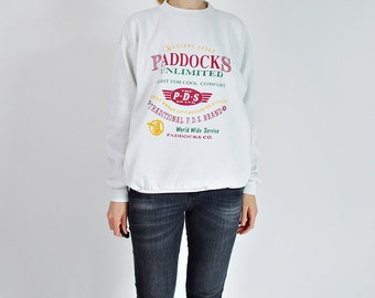 40% OFF SALE - 80s Vintage Paddocks Unlimited Oldschool White Sweatshirt / Size XL or oversized